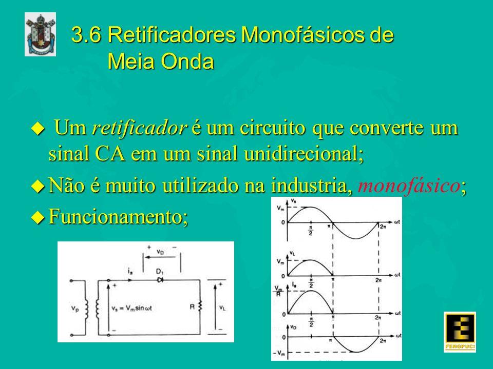 3.6 Retificadores Monofásicos de Meia Onda