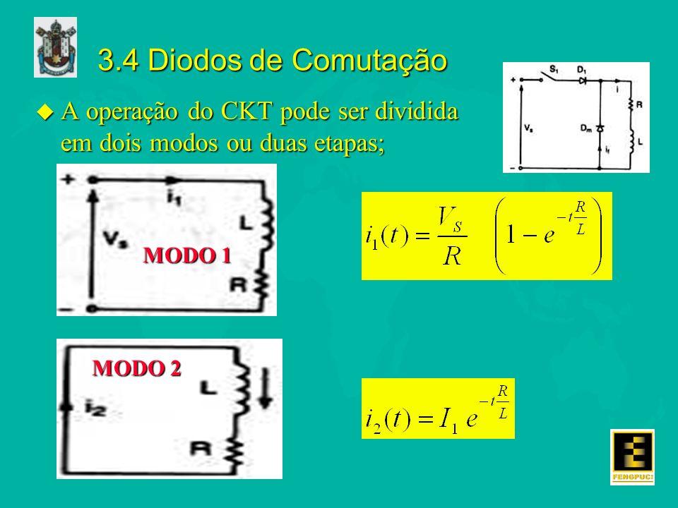 3.4 Diodos de Comutação A operação do CKT pode ser dividida em dois modos ou duas etapas; MODO 1.