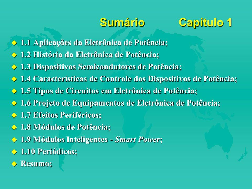 Sumário Capítulo 1 1.1 Aplicações da Eletrônica de Potência;