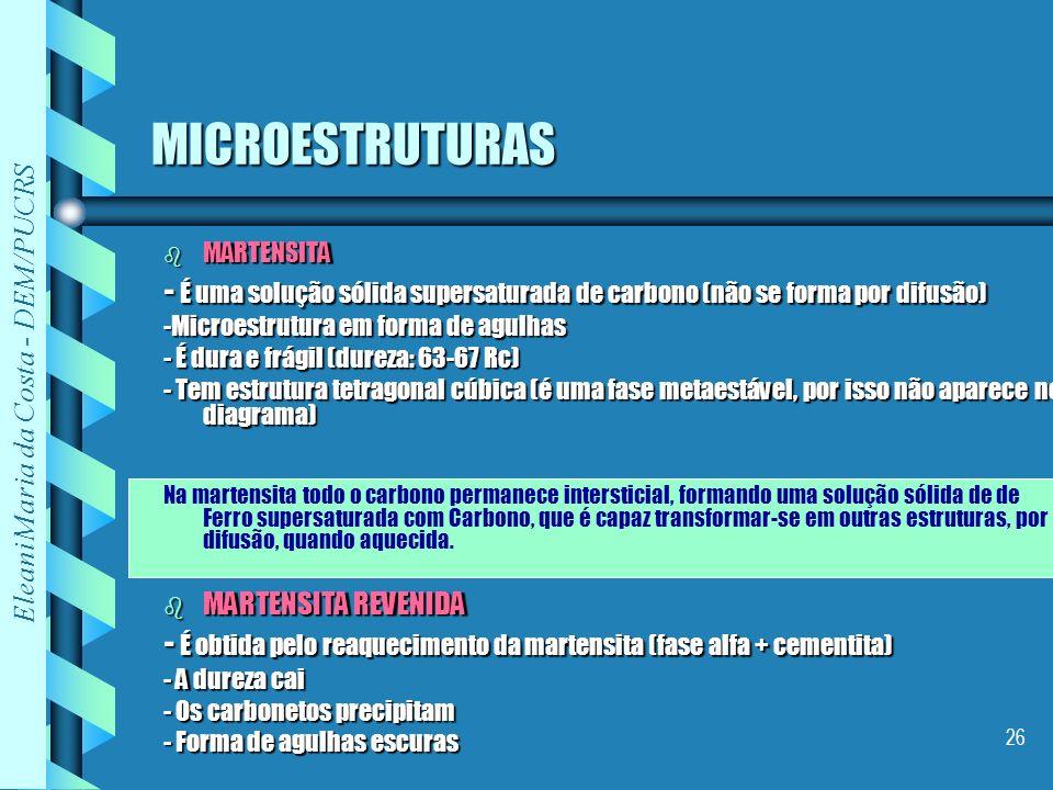 MICROESTRUTURAS MARTENSITA. - É uma solução sólida supersaturada de carbono (não se forma por difusão)