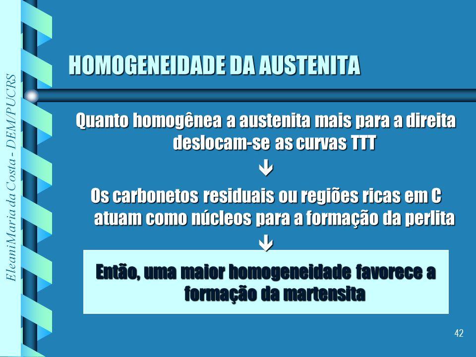 HOMOGENEIDADE DA AUSTENITA