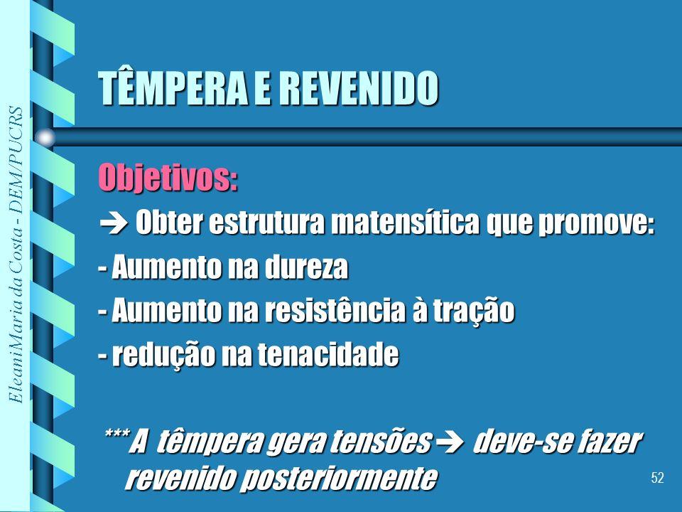 TÊMPERA E REVENIDO Objetivos: