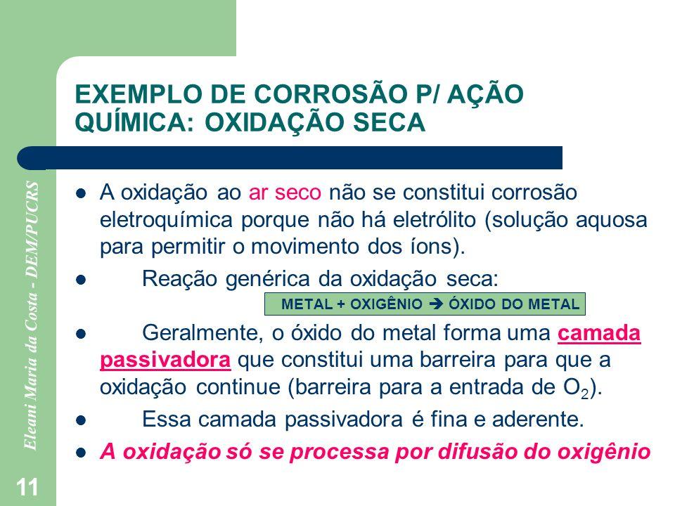 EXEMPLO DE CORROSÃO P/ AÇÃO QUÍMICA: OXIDAÇÃO SECA