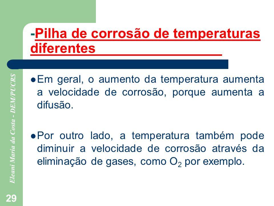 -Pilha de corrosão de temperaturas diferentes