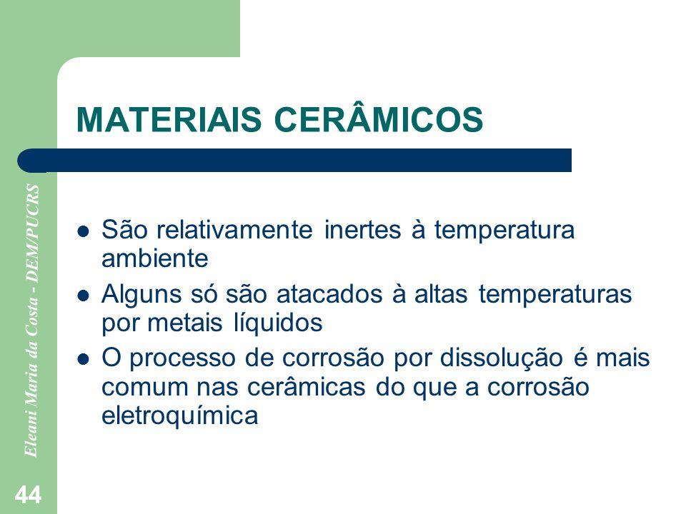 MATERIAIS CERÂMICOS São relativamente inertes à temperatura ambiente