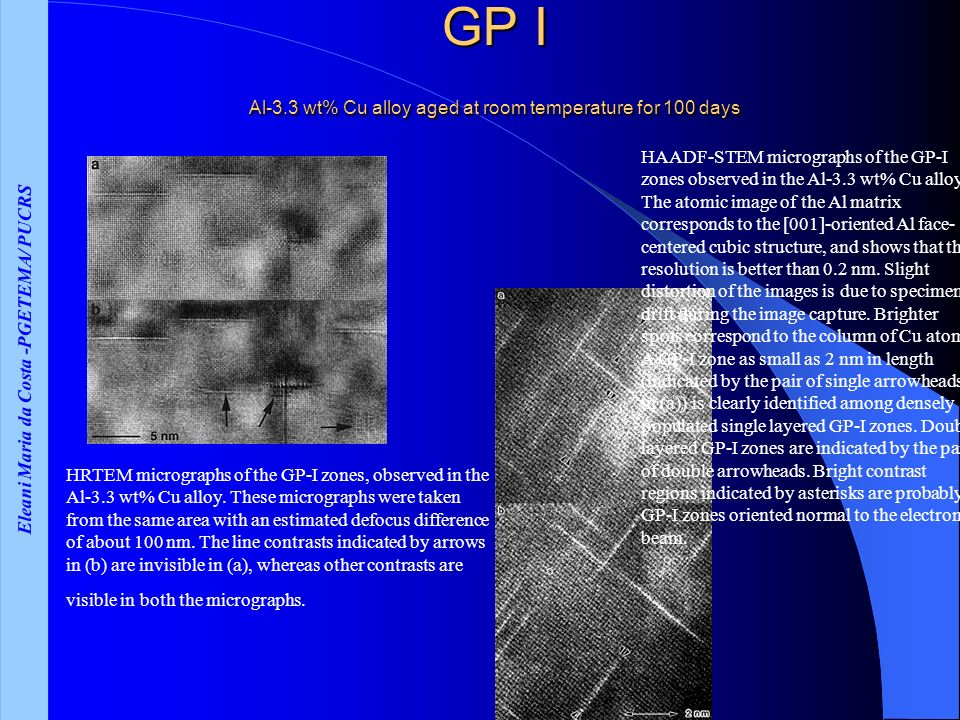 GP I Al-3.3 wt% Cu alloy aged at room temperature for 100 days