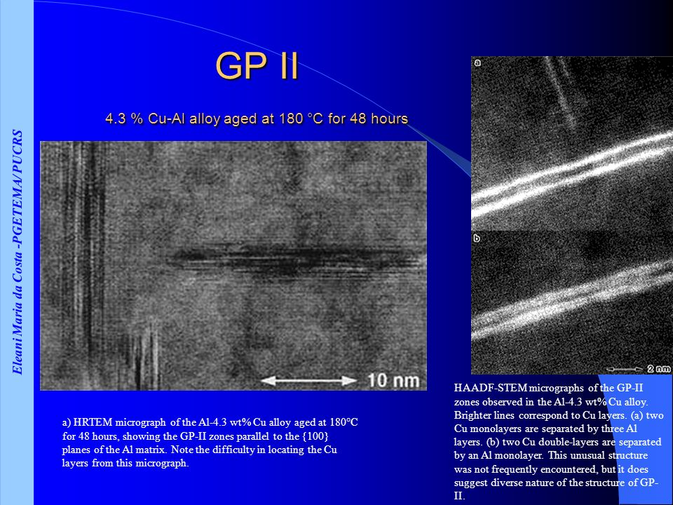 GP II 4.3 % Cu-Al alloy aged at 180 °C for 48 hours
