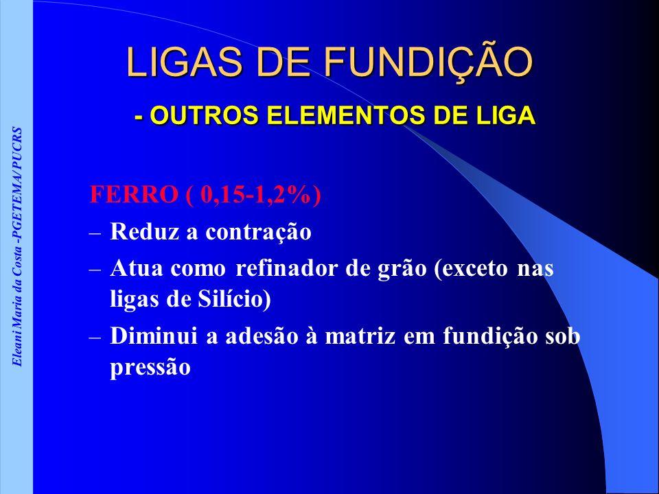 LIGAS DE FUNDIÇÃO - OUTROS ELEMENTOS DE LIGA
