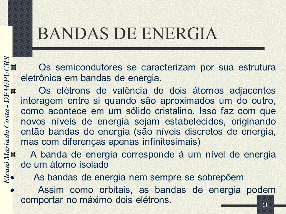 BANDAS DE ENERGIA Os semicondutores se caracterizam por sua estrutura eletrônica em bandas de energia.