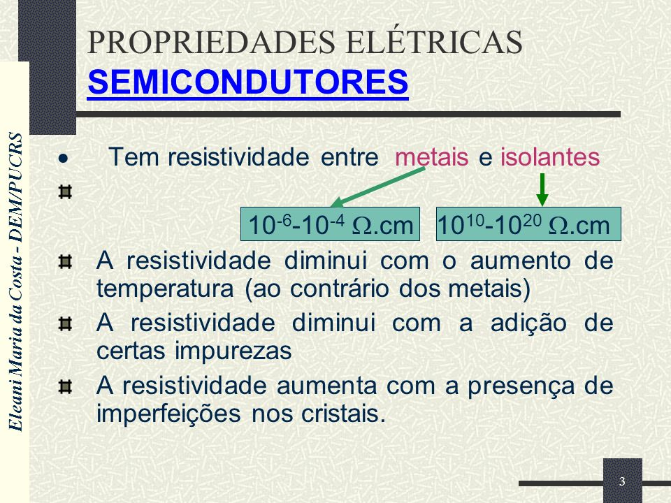 PROPRIEDADES ELÉTRICAS SEMICONDUTORES