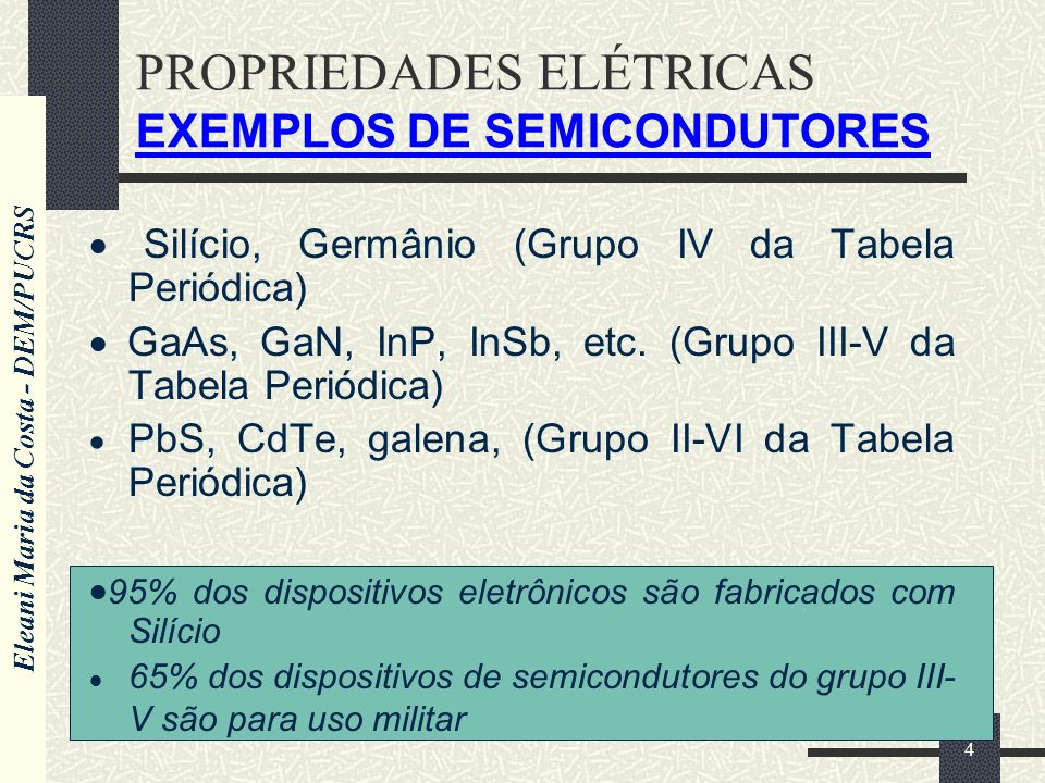 PROPRIEDADES ELÉTRICAS EXEMPLOS DE SEMICONDUTORES