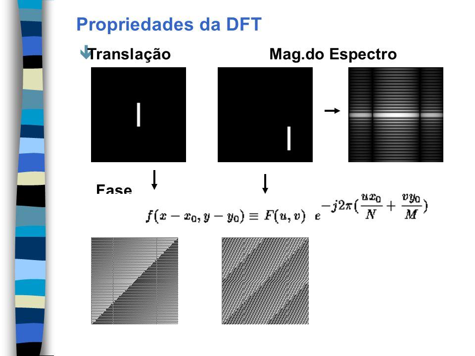Propriedades da DFT Translação Mag.do Espectro Fase