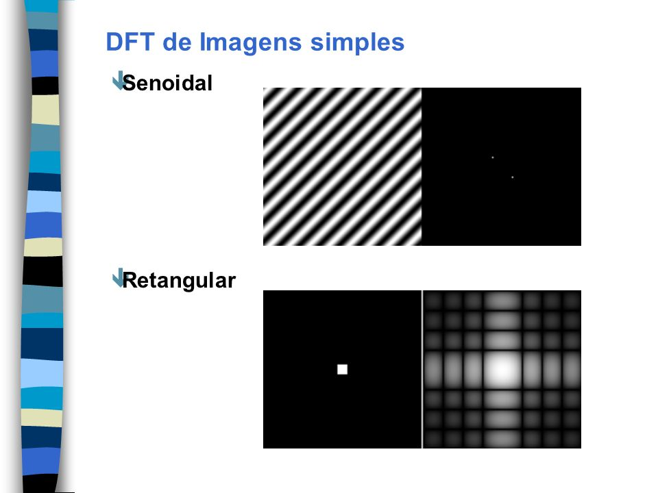 DFT de Imagens simples Senoidal Retangular
