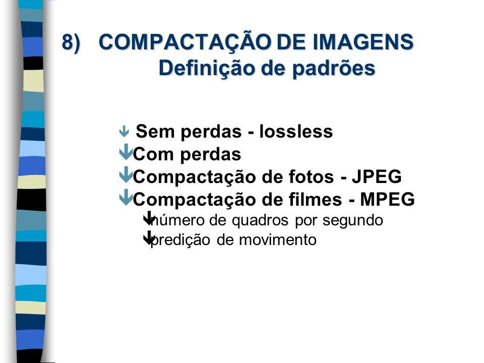 8) COMPACTAÇÃO DE IMAGENS Definição de padrões
