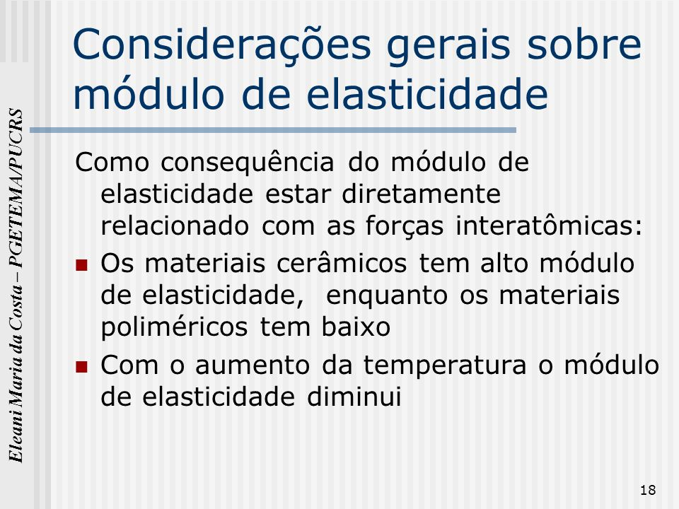 Considerações gerais sobre módulo de elasticidade
