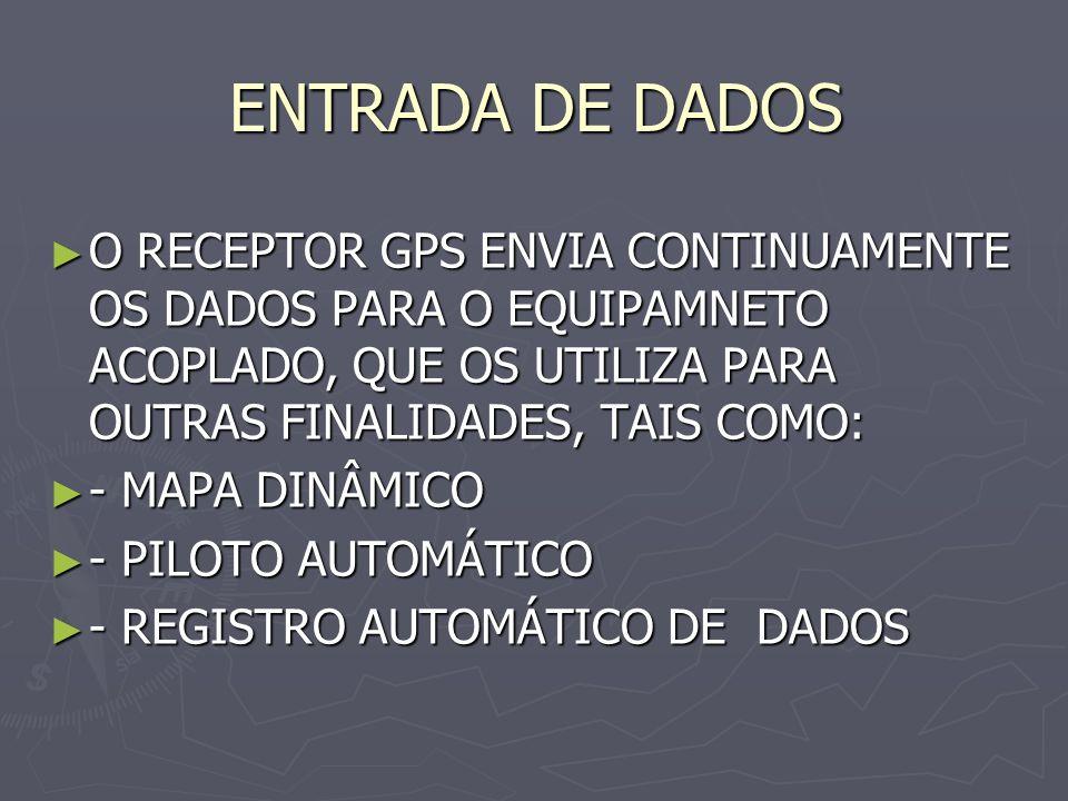 ENTRADA DE DADOS O RECEPTOR GPS ENVIA CONTINUAMENTE OS DADOS PARA O EQUIPAMNETO ACOPLADO, QUE OS UTILIZA PARA OUTRAS FINALIDADES, TAIS COMO: