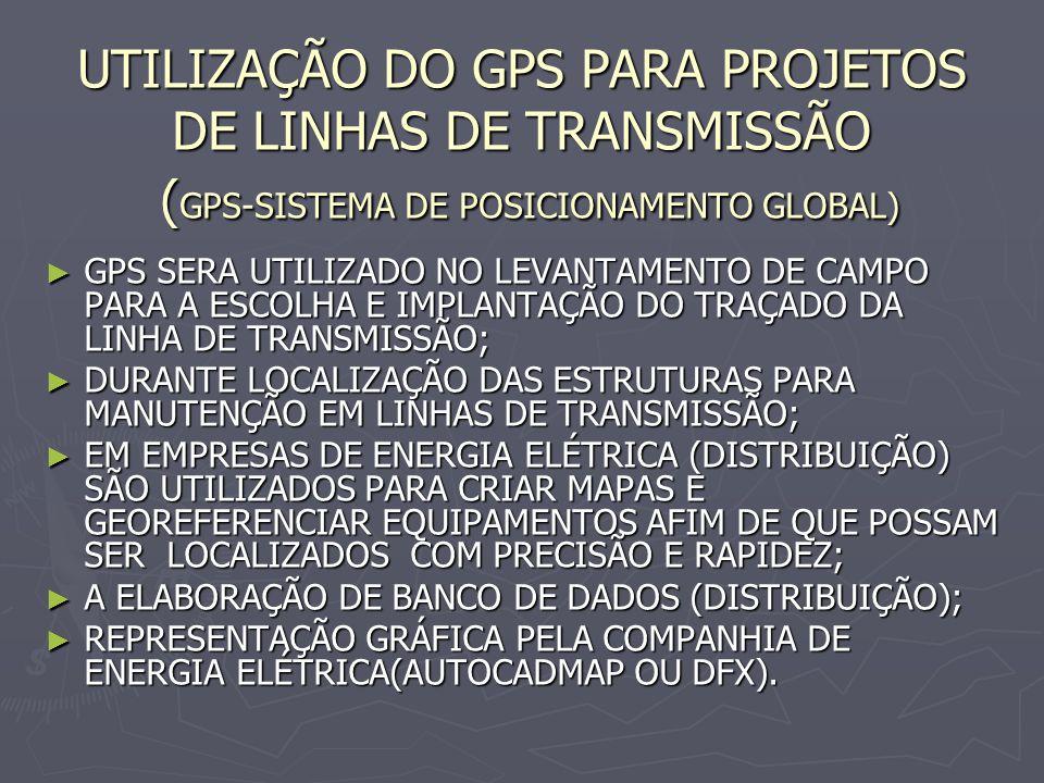 UTILIZAÇÃO DO GPS PARA PROJETOS DE LINHAS DE TRANSMISSÃO (GPS-SISTEMA DE POSICIONAMENTO GLOBAL)