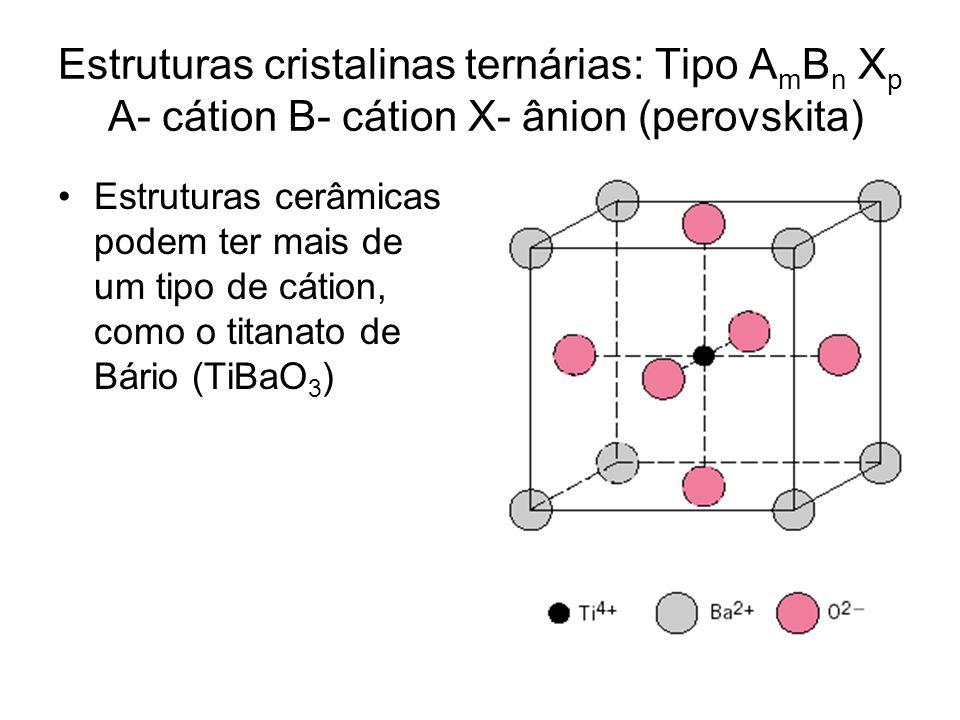 Estruturas cristalinas ternárias: Tipo AmBn Xp A- cátion B- cátion X- ânion (perovskita)