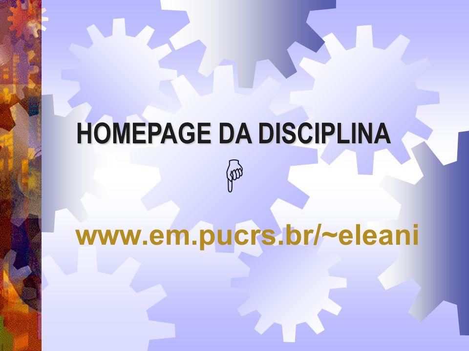 HOMEPAGE DA DISCIPLINA