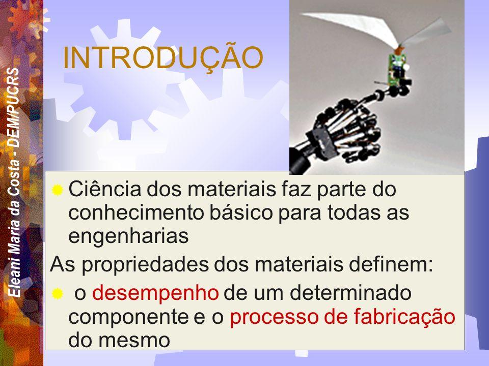 INTRODUÇÃO Ciência dos materiais faz parte do conhecimento básico para todas as engenharias. As propriedades dos materiais definem: