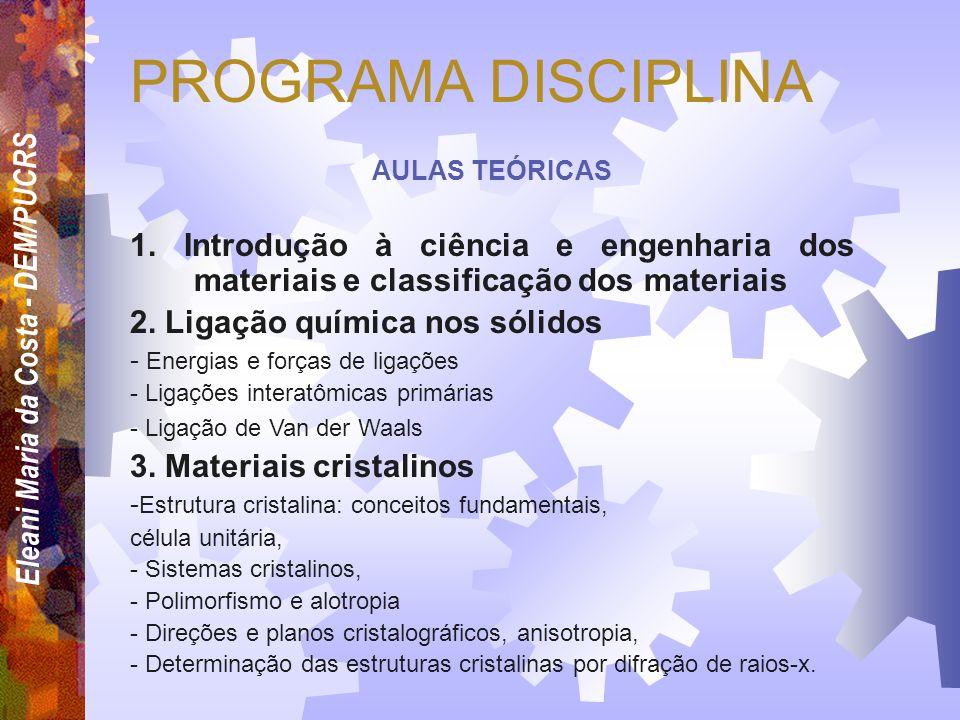 PROGRAMA DISCIPLINA AULAS TEÓRICAS. 1. Introdução à ciência e engenharia dos materiais e classificação dos materiais.