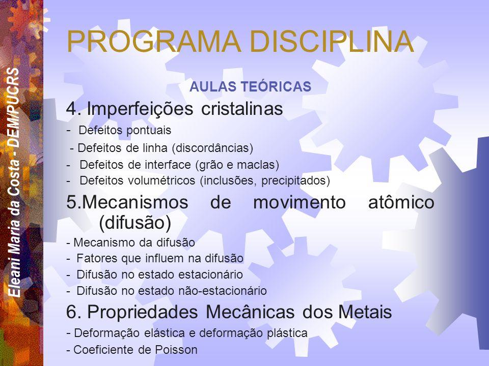 PROGRAMA DISCIPLINA 4. Imperfeições cristalinas