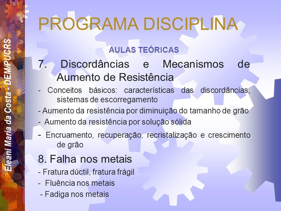 PROGRAMA DISCIPLINA AULAS TEÓRICAS. 7. Discordâncias e Mecanismos de Aumento de Resistência.