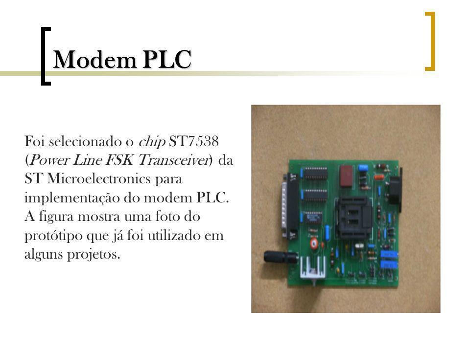 Modem PLC Foi selecionado o chip ST7538 (Power Line FSK Transceiver) da ST Microelectronics para implementação do modem PLC.