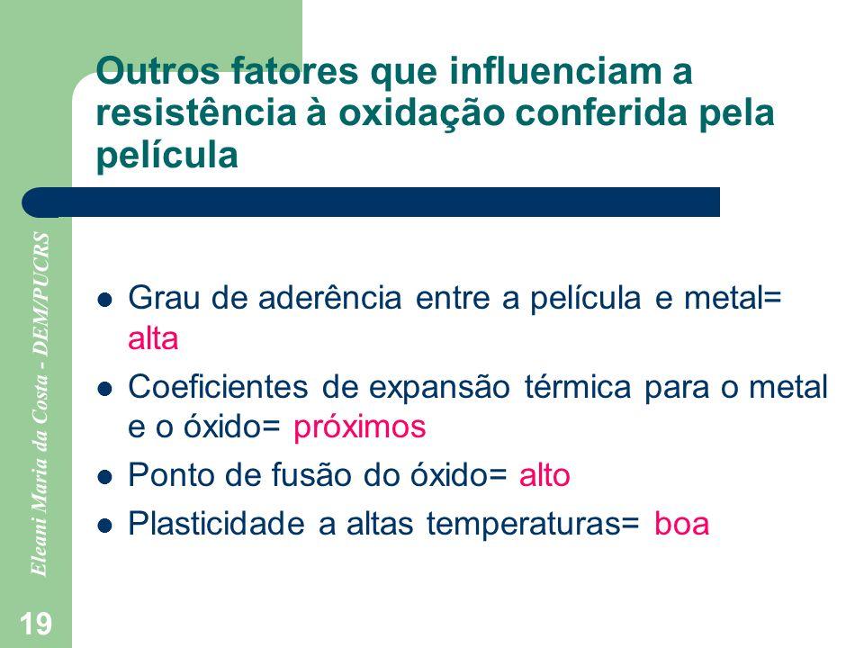 Outros fatores que influenciam a resistência à oxidação conferida pela película