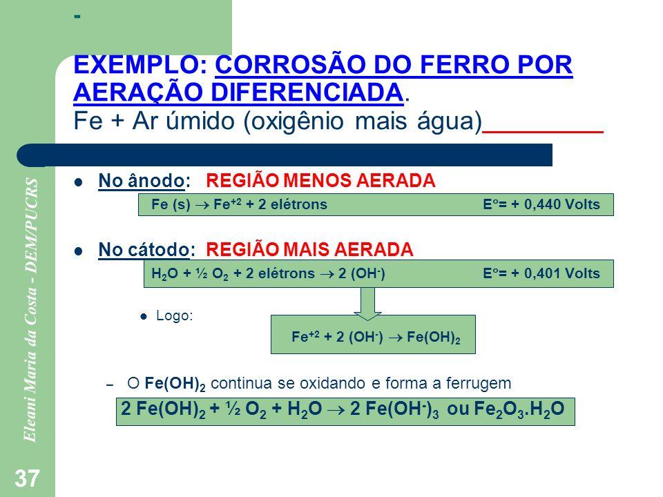 - EXEMPLO: CORROSÃO DO FERRO POR AERAÇÃO DIFERENCIADA