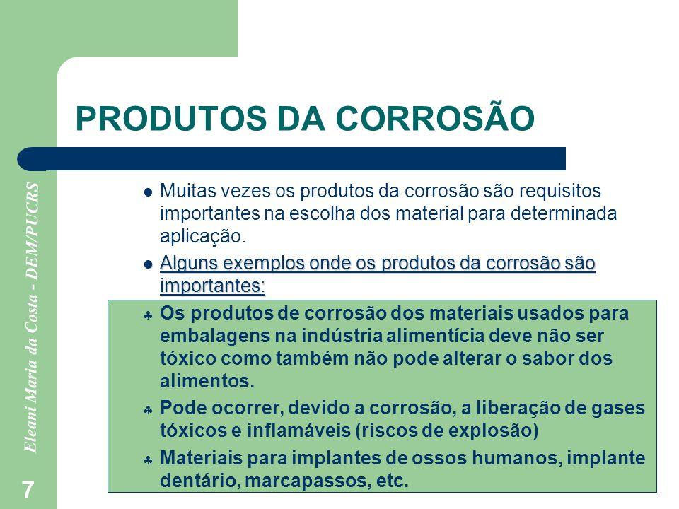 PRODUTOS DA CORROSÃOMuitas vezes os produtos da corrosão são requisitos importantes na escolha dos material para determinada aplicação.