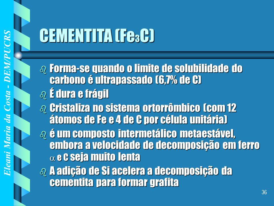CEMENTITA (Fe3C)Forma-se quando o limite de solubilidade do carbono é ultrapassado (6,7% de C) É dura e frágil.