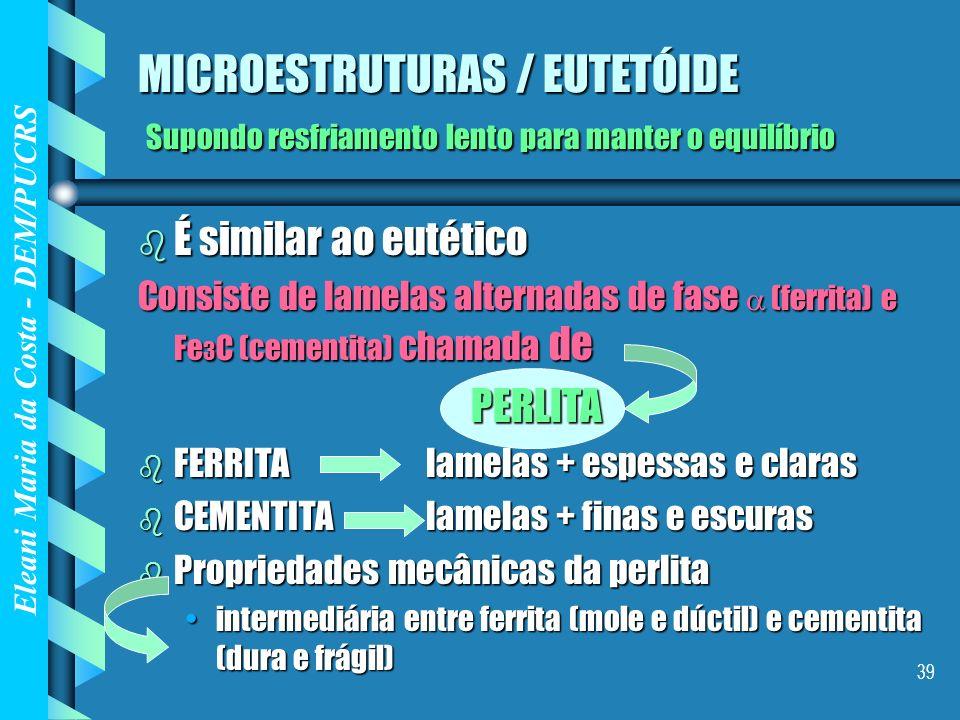 MICROESTRUTURAS / EUTETÓIDE Supondo resfriamento lento para manter o equilíbrio