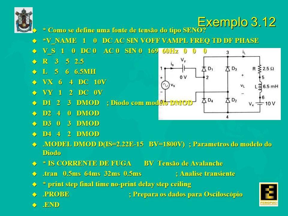 Exemplo 3.12 * Como se define uma fonte de tensão do tipo SENO