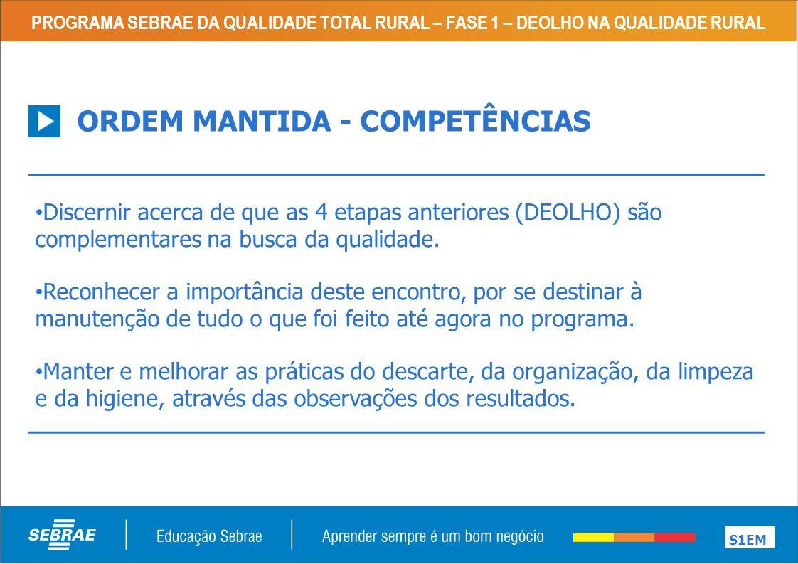 ORDEM MANTIDA - COMPETÊNCIAS