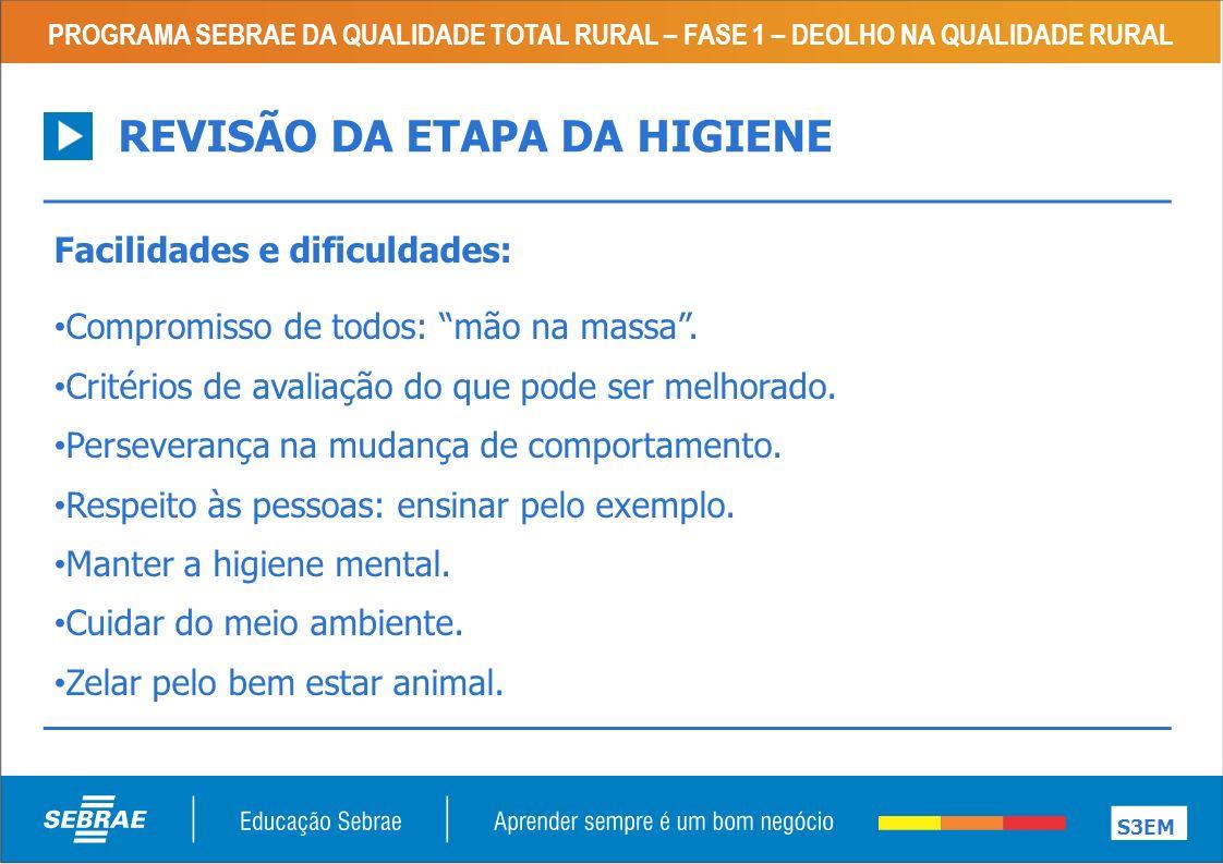 REVISÃO DA ETAPA DA HIGIENE