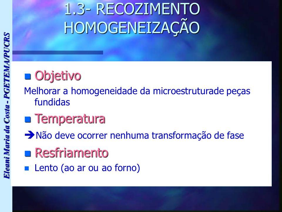 1.3- RECOZIMENTO HOMOGENEIZAÇÃO