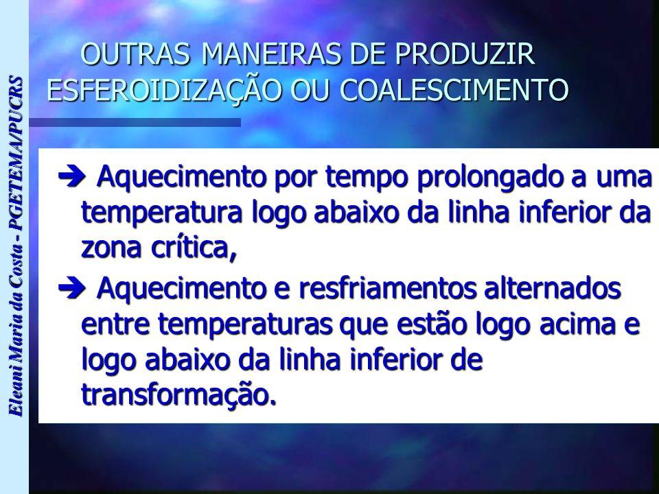 OUTRAS MANEIRAS DE PRODUZIR ESFEROIDIZAÇÃO OU COALESCIMENTO