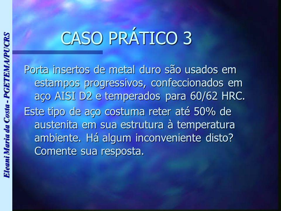 CASO PRÁTICO 3 Porta insertos de metal duro são usados em estampos progressivos, confeccionados em aço AISI D2 e temperados para 60/62 HRC.
