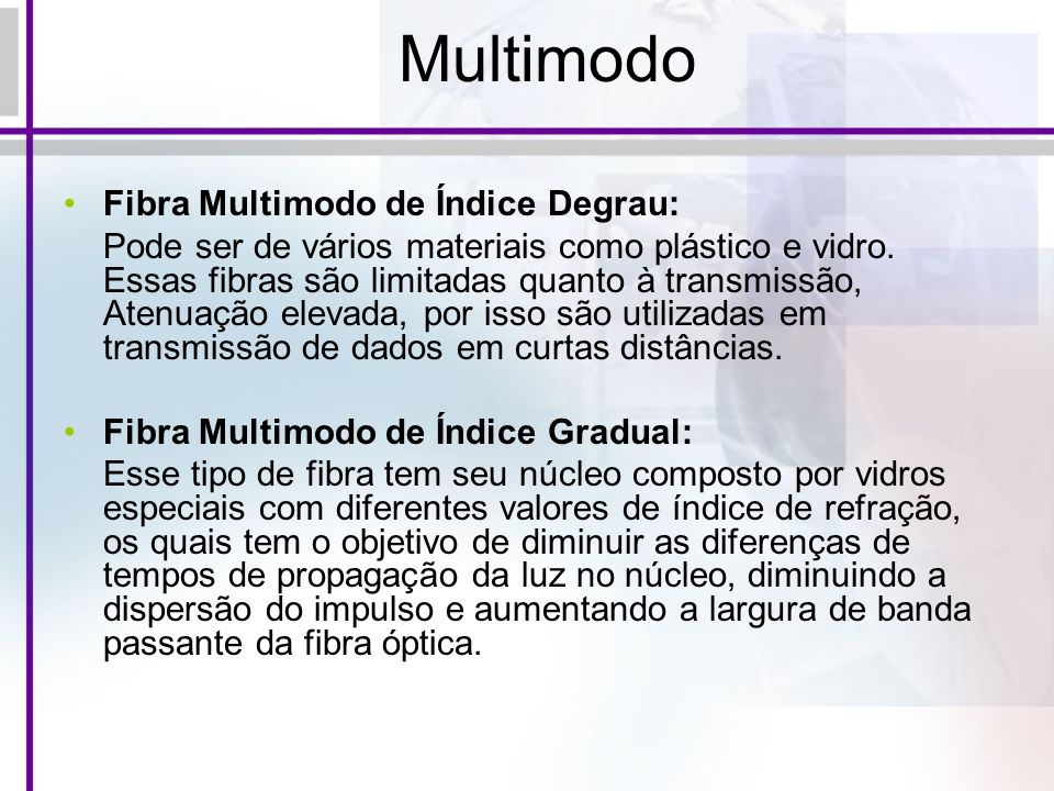 Multimodo Fibra Multimodo de Índice Degrau: