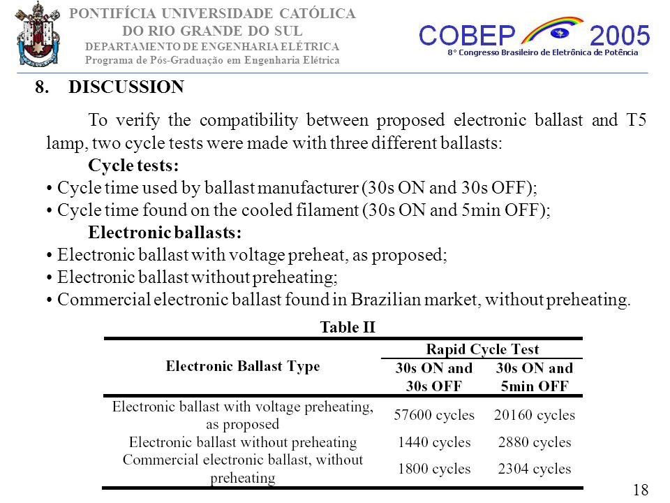 DISCUSSION To verify the compatibility between proposed electronic ballast and T5 lamp, two cycle tests were made with three different ballasts: