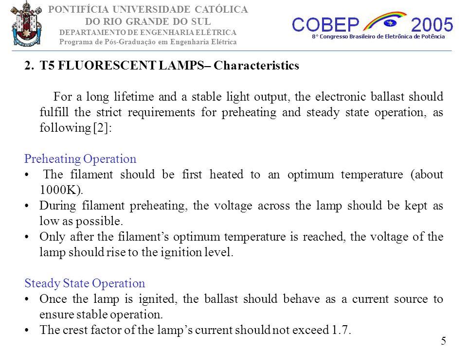 T5 FLUORESCENT LAMPS– Characteristics