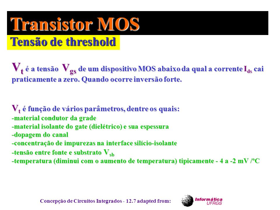 Transistor MOS Tensão de threshold