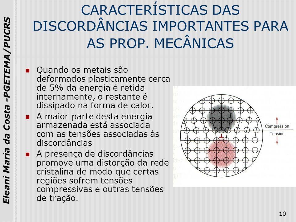 CARACTERÍSTICAS DAS DISCORDÂNCIAS IMPORTANTES PARA AS PROP. MECÂNICAS