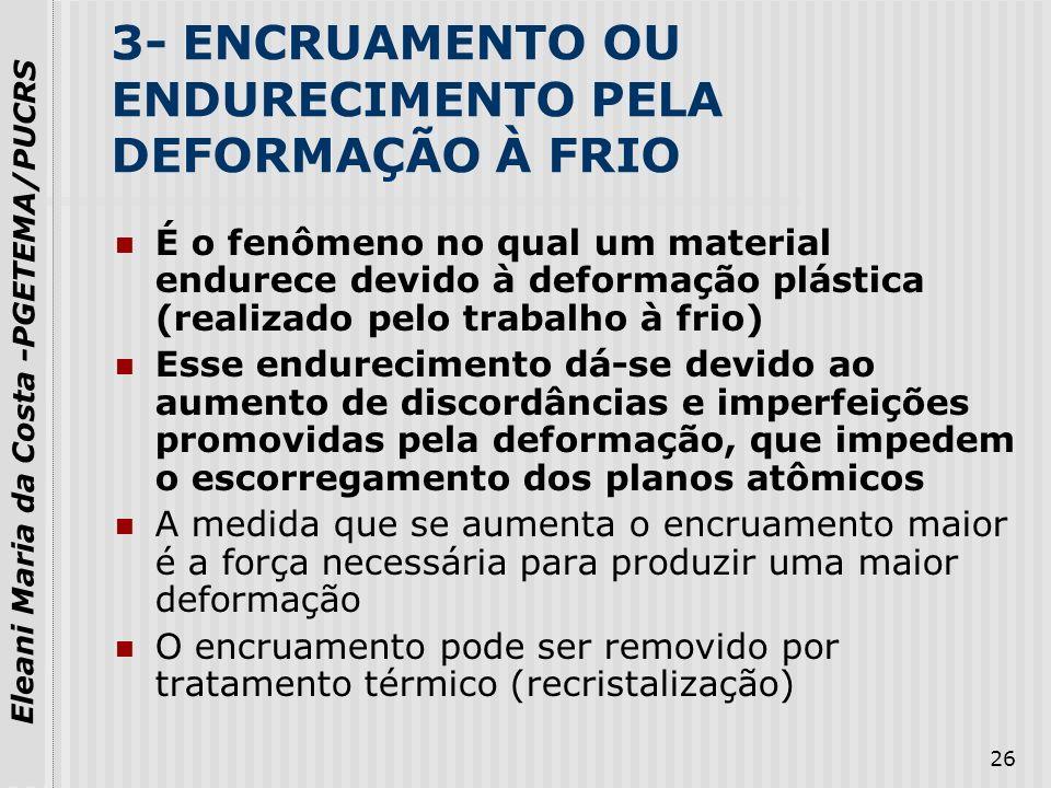 3- ENCRUAMENTO OU ENDURECIMENTO PELA DEFORMAÇÃO À FRIO