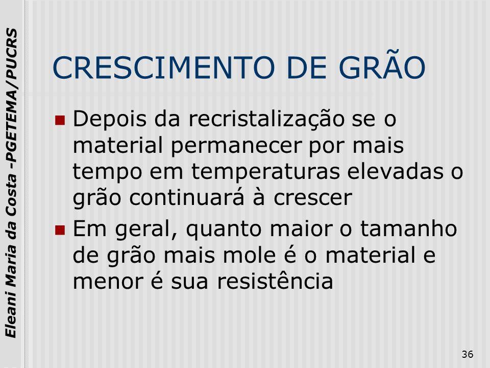 CRESCIMENTO DE GRÃODepois da recristalização se o material permanecer por mais tempo em temperaturas elevadas o grão continuará à crescer.