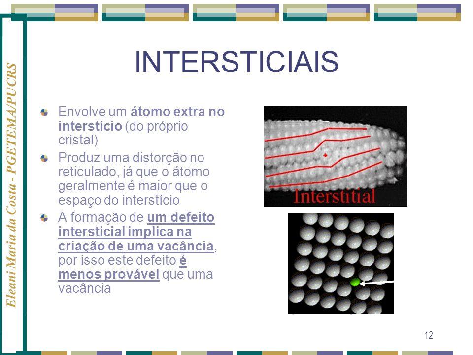 INTERSTICIAIS Envolve um átomo extra no interstício (do próprio cristal)