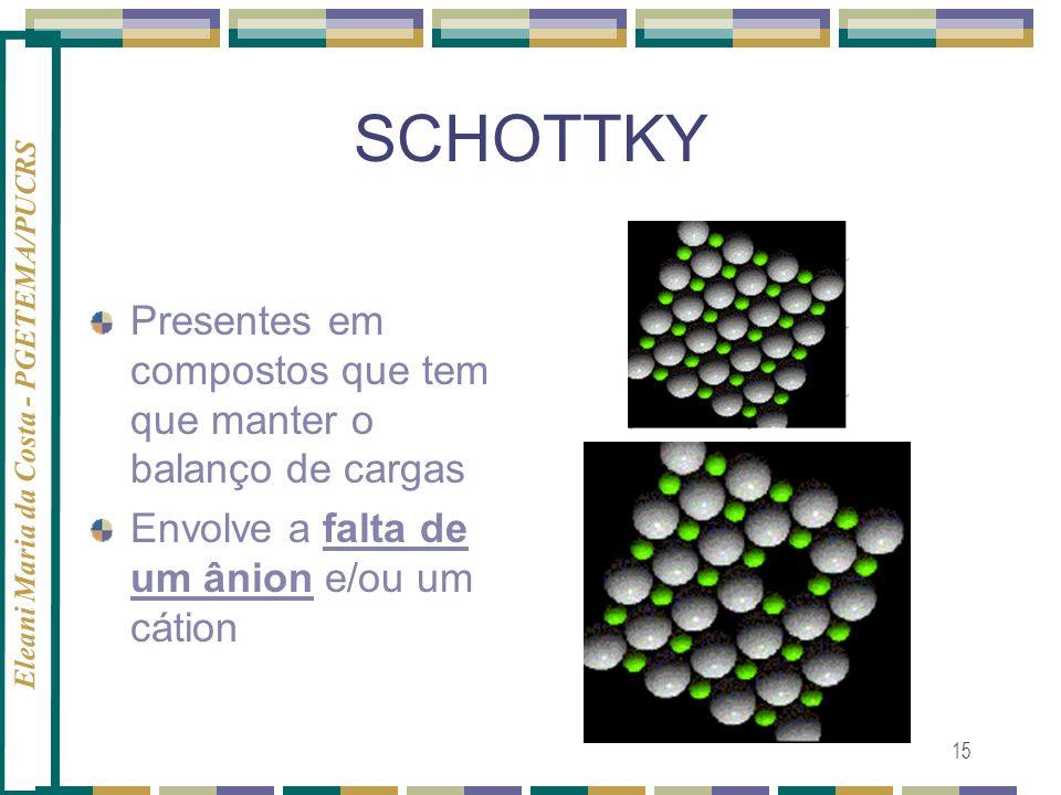 SCHOTTKY Presentes em compostos que tem que manter o balanço de cargas