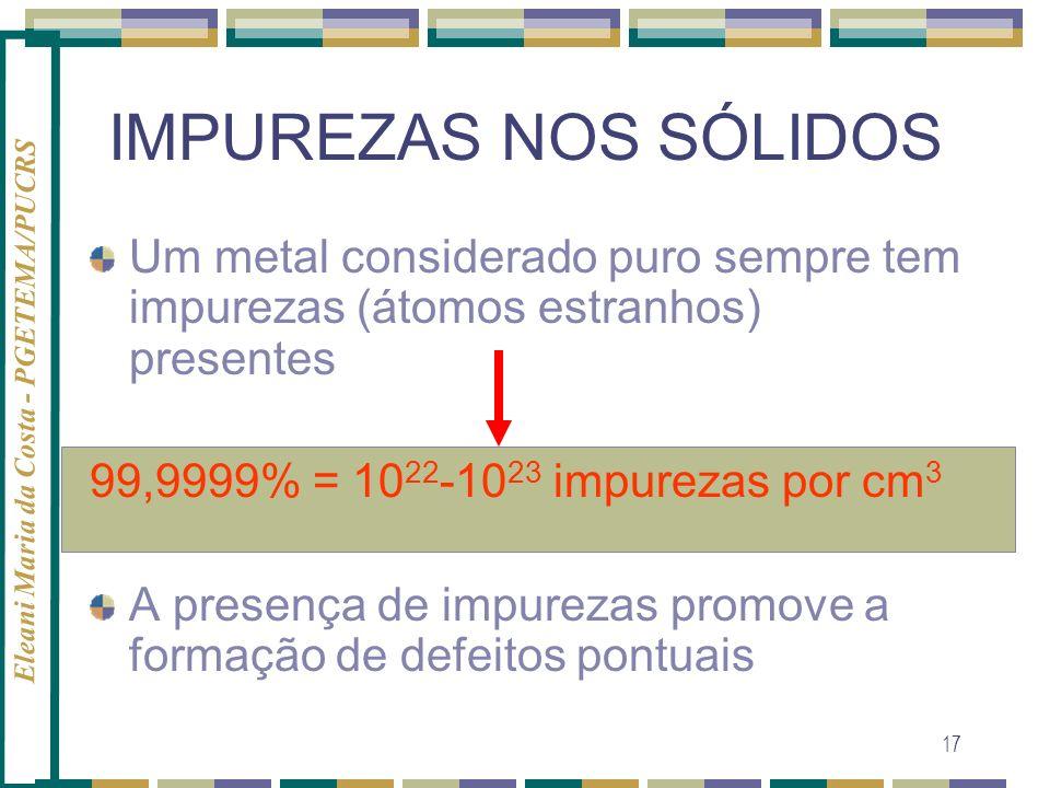 IMPUREZAS NOS SÓLIDOSUm metal considerado puro sempre tem impurezas (átomos estranhos) presentes. 99,9999% = 1022-1023 impurezas por cm3.