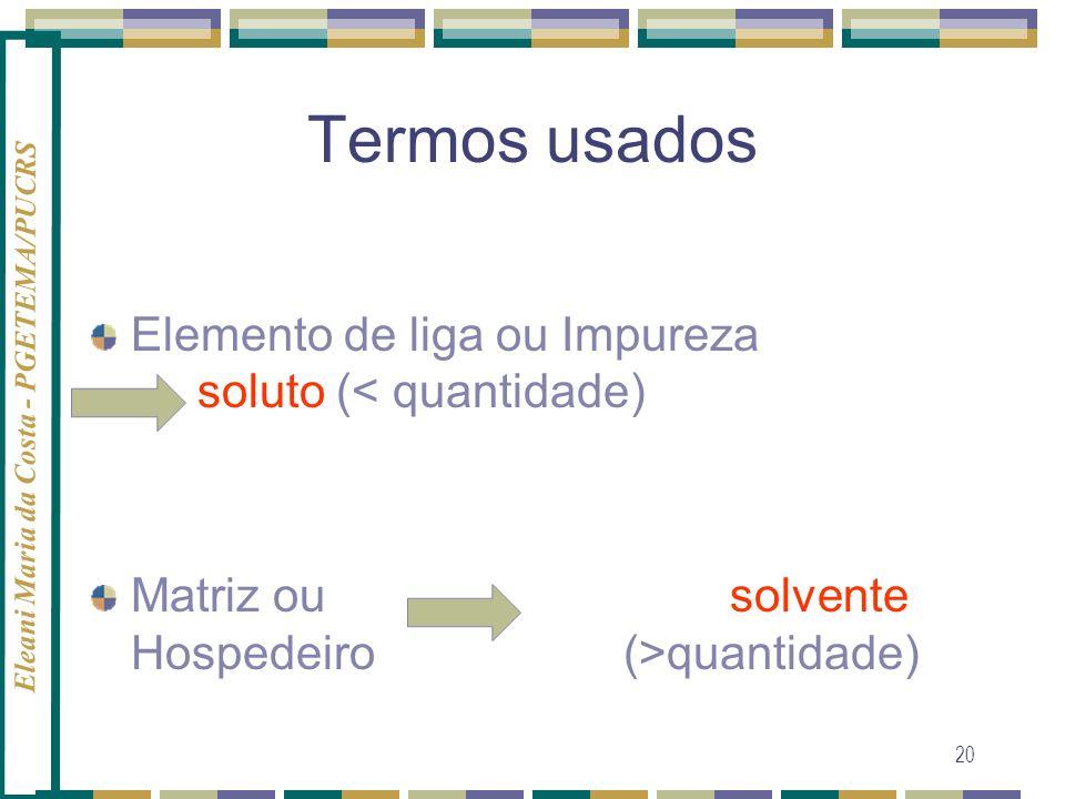 Termos usados Elemento de liga ou Impureza soluto (< quantidade)